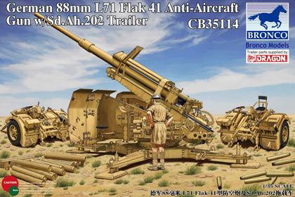German 88mm FlaK 41 Anti-Aircraft Gun w/Sd.Ah.202 Trailer